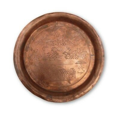 Very Rare Unique Ancient Brass Wall plate Solid Handmade Copper Plaque In 1966
