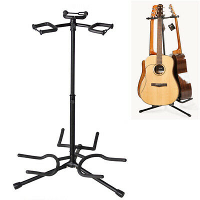 Triple Guitar Stand Bass Acoustic Electric Folding Multiple 3 Guitar Rack Black