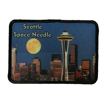 Seattle Space Needle Patch Travel City Moon Dye Sublimation Iron On Applique