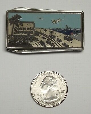 Sovis VSI Insurance Vintage Stainless Steel Money Clip Knife Nail File Lansing