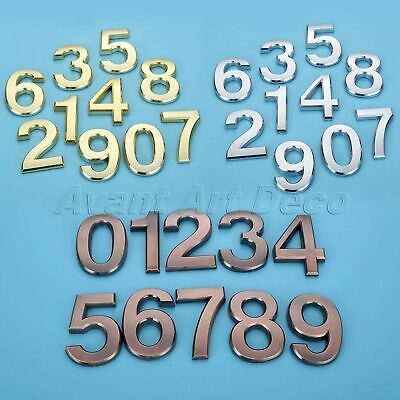 Door Number Stickers Self Adhesive Polished Plate Plaques 7cm 3D Plastic Sign