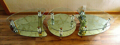 3 Vintage Mid Century Hollywood Regency 2 Tier Glass Coffee Plant End Tables