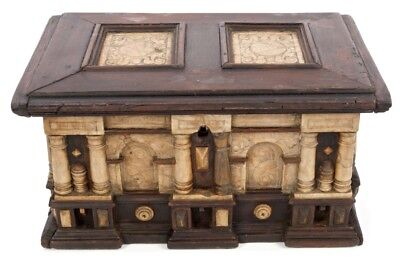 17th century Malines ebonised wood and carved alabaster table cabinet casket xvi
