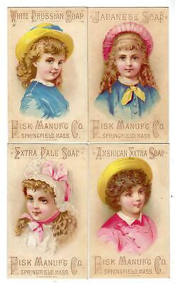 Set/4 Fisk Mfg Co*Soap Trade Cards*White Prussian*American*Japanese*Pale*Lutz