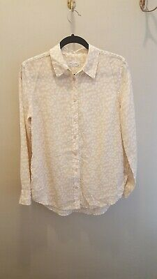 657106890 Equipment Reese Clean Silk Heart-Print Blouse Peach Pink Nude White Small  $268