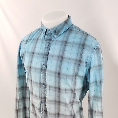 6a197637d8e4 Guess Jeans Mens Metal Button Front Shirt Sz Large Blue Ombre Plaid Check  A39-07