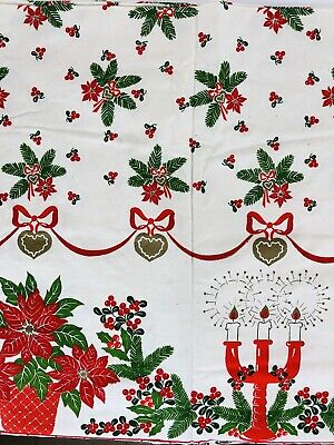 Vintage Christmas  Tablecloth 58 X 86 Poinsettia Holly Menorah Candles Red Gold