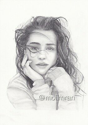 Drawing of GOT Emilia Clarke by artist Moiimran - Game of Throne Pencil Sketch