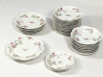 Haviland & Co Limoges France Schleiger Set Plate Dish Pink Blue Yellow Flower
