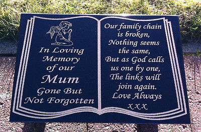 Memorial Stone Book Design Gravestone Marker Personalised With Your Own Wording