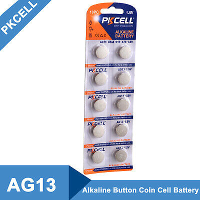 PKCELL 10pcs/pack 1.5V AG13 LR44 G13 A76 Coin Button Cell Alkaline Battery