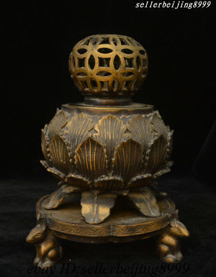 Ancient Chinese Dynasty Palace Bronze Fengshui Incense Burner Censer Box Statue