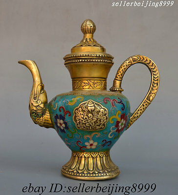 8 China Bronze Cloisonne Enamel Auspicious Lucky Dragon Head Wine Tea Pot Flagon