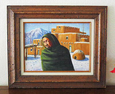 "Vintage CARL G.BRAY FRAMED OIL PAINTING 16"" x 12"" w Navajo Woman among Pueblos"