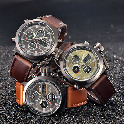 Sport Mens Quartz Military Army LED Watches Analog Stainless Steel Wrist Watch