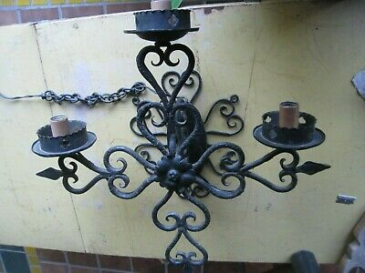 Vintage Hammered Wrought Iron Spanish Revival Wall Sconce Lamp Light