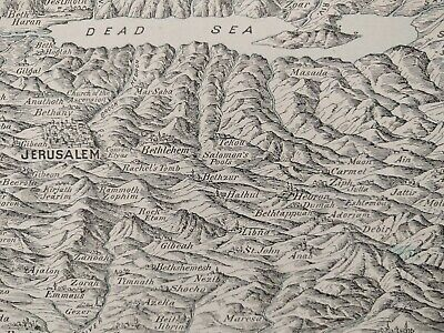 "Vintage 1901 HOLY LAND Map 22""x14"" Old Antique Historical SEA OF GALILEE MAPZ"