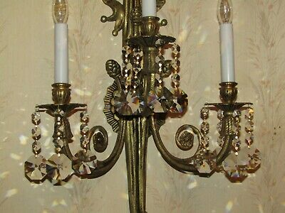 2-28 in. SOLID BRASS 3 ARMS 3L RIBBON TASSEL  ANTIQUE SCONCES 40'S CZECH CRYSTAL