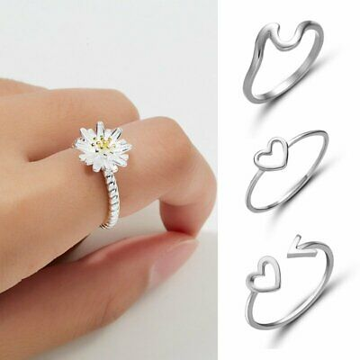 925 Silver Ocean Wave Fashion Ring Women Wedding Engagement Promise Jewelry Gift