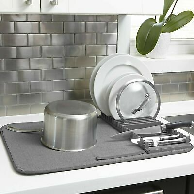 Dishes Drying Rack with Mat Kitchen Dish Utensil Bowls Dry Rack with Mat