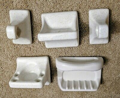 Vintage Porcelain Ceramic Bathroom Fixtures White Gold Speck Salvage Replacement