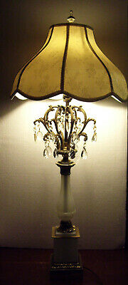 "Vintage White Opaline Glass and Brass with Prisms Ornate 38.5"" Tall Table Lamp"