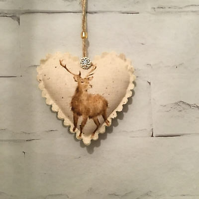 Wrendale Stag Handmade Fabric Hanging Heart Vintage Shabby Chic Christmas Gift