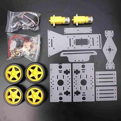 4WD Smart Tracking Robot Car Chassis Kit Motor Steering Engine DIY Tools Acrylic