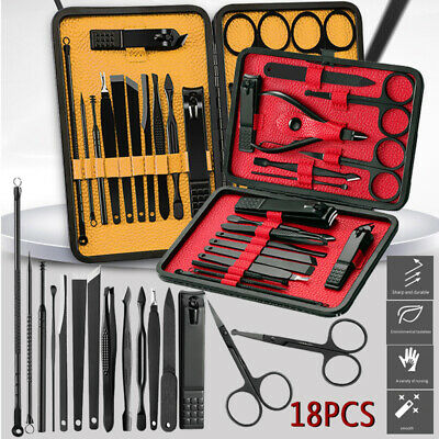 18PCS/Set Stainless Steel Manicure Nail Kit Pedicure Grooming Clippers Tools AU