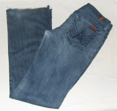 7 FOR ALL MANKIND blue JEANS 29=6 women DISTRESSED A POCKET BOOT CUT FLARE DENIM