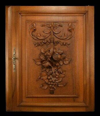 French Antique Architectural Carved Wood Panel Cabinet Closet Door with Fruits