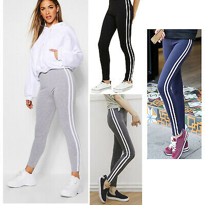PACK TWO Ladies Skinny Stretch Joggers STRIPED Jogging Gym Yoga Bottom Tracksuit