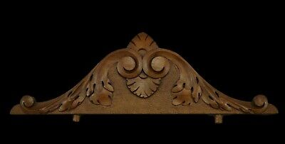 Hand Carved Walnut Wood Ornate Scroll Pediment Crest Cornice Above Door Decor