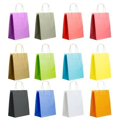 12 Colors Paper Bag Recyclable Handles Bags Party Shopping Gift Kraft Paper Bags