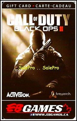 Eb Games Gamestop Call Of Duty Black Ops Ii Shooting Rare Collectible Gift Card