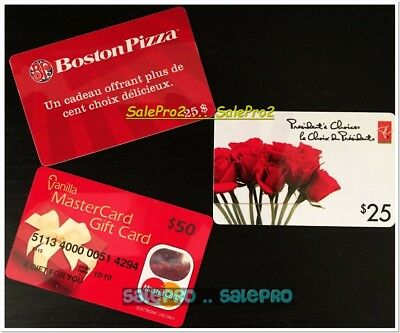 3x BOSTON PIZZA S25 VANILLA PRESIDENT'S CHOICE ROSES COLLECTIBLE GIFT CARD LOT