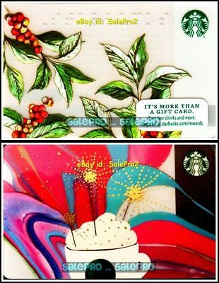 2x STARBUCKS COFFEE BEANS CELEBRATION BRAILLE LIMITED COLLECTIBLE GIFT CARD LOT