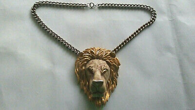 Vintage Huge LION ZODIAC Necklace LUCA RAZZA Statement Pendant Gold Silver tone