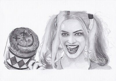 Drawing of Margot Robbie Harley Quinn From Suicide Squad -Graphite Pencil Sketch