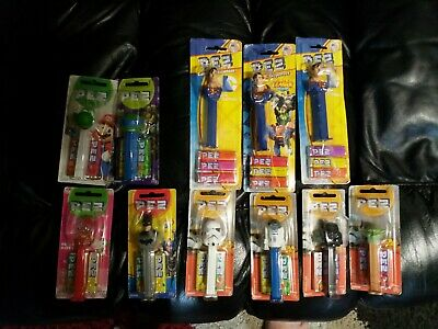 Assortment Of  11 Pez unopened Starwars , Batman, Superman, Hello Kitty, vgc