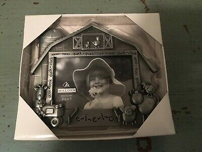 "Malden Pewter Silver Old McDonald Farm Picture Photo Frame 3 1/2"" X 5 New In Box"