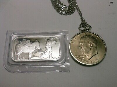 1 oz. SilverTowne Prospector and Donkey Silver Bar and 1 IKE bicentennial coin