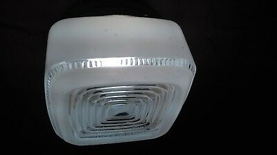 "Midcentury Modern Kitchen / Utility /Bathroom Light 6""X 6"" Square Frosted ""Cake"""