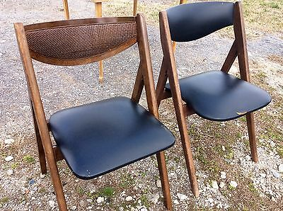 Midcentury Danish Modern Curved Back Folding Card Table Samsonite Gaming Chairs