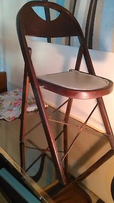 Vintage Us Seating Folding Card Table Game Chair Curved Plywood Upholstered Seat