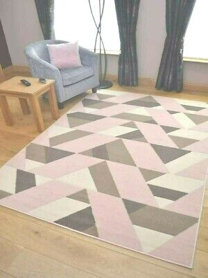 Modern Soft Pink Brown Geometric Small Large Rugs New Triangle Living Room Cheap