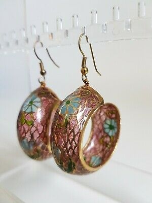 Vintage Chinese Cloissone Plique A Jour Stained Glass Gold Hoop Earrings