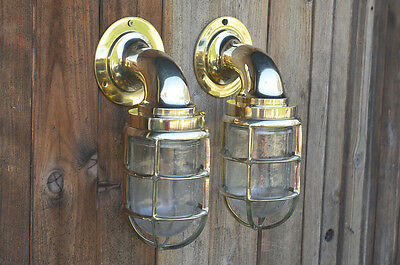 nautical Wall Light Vintage Retro Cage Bulkhead Old Brass Ship Lamp industrial.