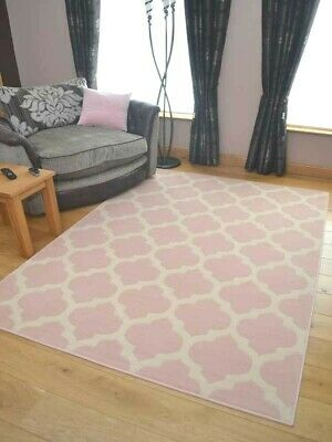 New Modern Soft Pink Cream Small Extra Large Floor Rugs Blush Trellis Room Cheap