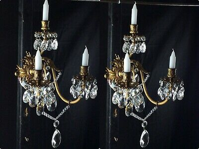 Substantial Heavy Large PAIR of 3 Candle French Bronze Crystal Antique Sconces